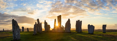UK03325 Sunset, Callanish Standing Stones, Isle of Lewis, Outer Hebrides, Scotland