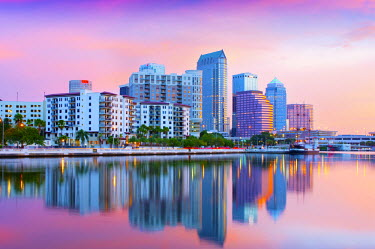 US11699 Florida, Tampa, Skyline, Dawn, Hillsborough River