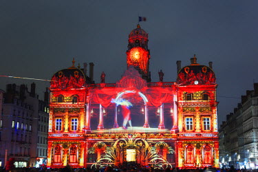 FRA8557 Europe, France, Rhone-Alpes, Lyon, Fete des Lumieres, festival of lights, Hotel de Ville - city hall, Unesco