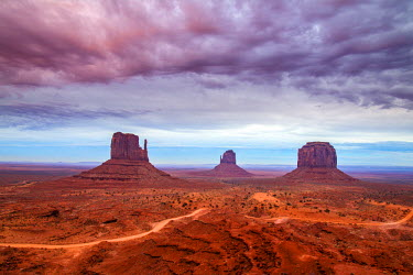 Sunset view over the Mittens, Monument Valley Navajo Tribal Park, Arizona, USA