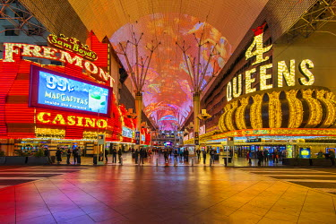 USA9499AW Fremont Casino and Four Queens Hotel and Casino neon lights, Fremont Street Experience pedestrian mall, Las Vegas, Nevada, USA