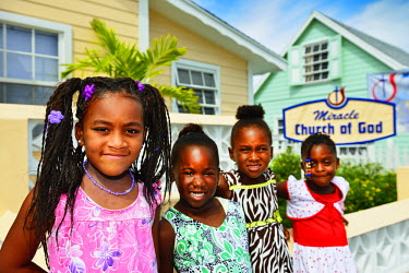 BAH1193AW Children, Green Turtle Cay, Abacos Islands, Bahamas, Caribbean