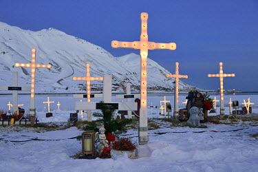 ICE3399AW Cemetery and Port of Siglufjordur, Iceland