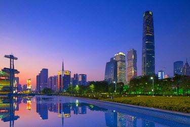 CH10382AW International Finance Centre and skyscrapers in Zhujiang New Town at sunset, Tian He, Guangzhou, Guangdong, China