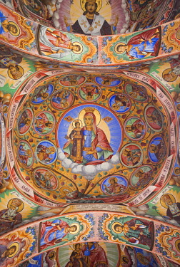 BG02049 Bulgaria, Southern Mountains, Rila, Rila Monastery, UNESCO-listed wall frescoes, Jesus Christ and Virgin Mary