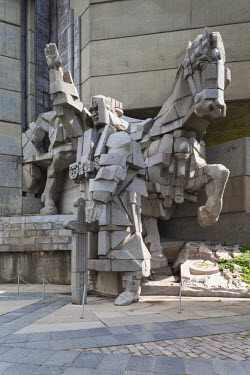BG02097 Bulgaria, Central Mountains, Shumen, Soviet-era, Creators of the Bulgarian State Monument, built 1981 to celebrate the first Bulgarian Empire's 1300th anniversary
