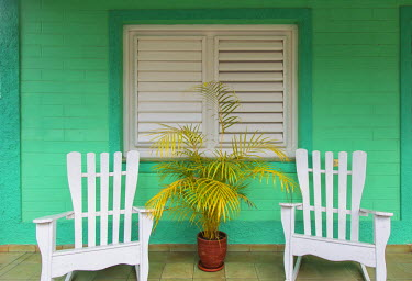 CB02331 Chairs on the porch of a house, Vinales, Pinar del Rio Province, Cuba