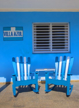 CB02336 Chairs on the porch of a house, Vinales, Pinar del Rio Province, Cuba