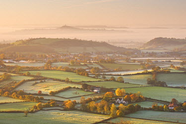 ENG12318AW Dawn view over misty Somerset Levels countryside towards Glastonbury Tor, Somerset, England.  Autumn