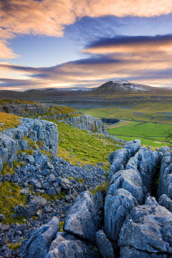 ENG12294AW Snow capped Ingleborough from the limestone pavements on Twistleton Scar, Yorkshire Dales National Park, North Yorkshire, England. Autumn