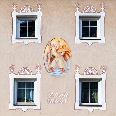 ITA4065AW Typical painted facade of a house in Ortisei or St Ulrich, Val Gardena, Alto Adige - South Tyrol, Italy