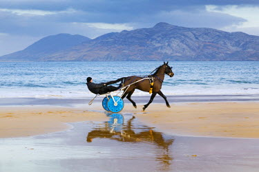 IRL0205AW Ireland, Co.Donegal, Fanad, Ballymastoker bay, Man sitting on horse drawn sulky on beach