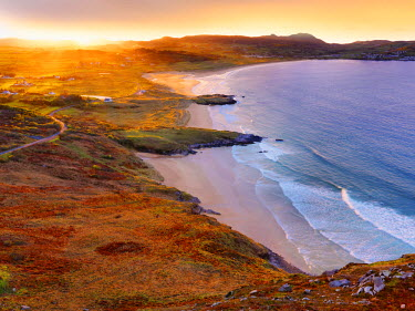 IRL0220AW Ireland, Co.Donegal, Fanad, Ballymastoker bay overview at sunset