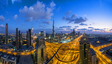 UE01569 The Burj Khalifa Dubai, elevated view across Sheikh Zayed Road and Financial Centre Road Interchange ,Downtown Dubai, Dubai, UAE