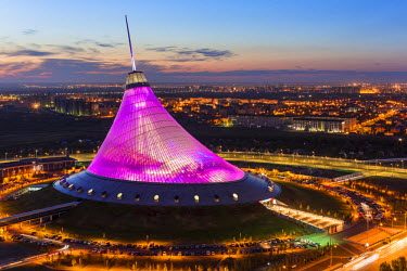 Central Asia, Kazakhstan, Astana, Night view over Khan Shatyr entertainment center