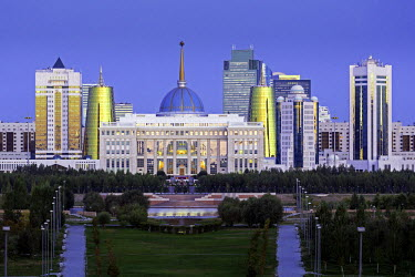 KZ01239 Central Asia, Kazakhstan, Astana, City Skyline and Ak Orda Presidential Palace of President Nursultan Nazarbayev