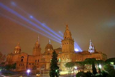 ARGADA000098 The National Art Museum of Catalonia, also known by its acronym MNAC, is illuminated at night in the city of Barcelona, Spain . Noted for its collection of Romanesque art, considered one of the most c...