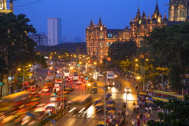 IN07037 View over Chhatrapati Shivaji Terminus train station previously named Victoria Terminus in Mumbai India