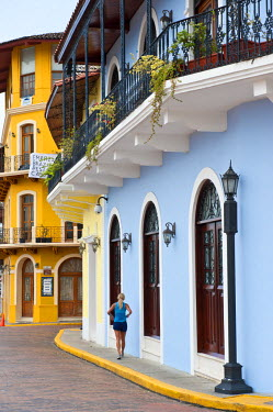 HMS0620592 Panama, Panama City, historic town listed as World Heritage by UNESCO, Casco Antiguo, Barrio San Felipe, colorful facade of colonial architecture