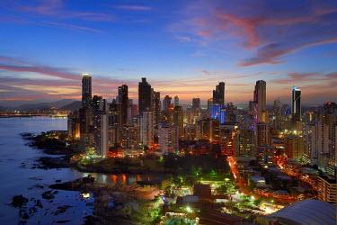 HMS1861581 Panama, Panama City, waterfront skyscrapers of Punta Paitillia district after sunset