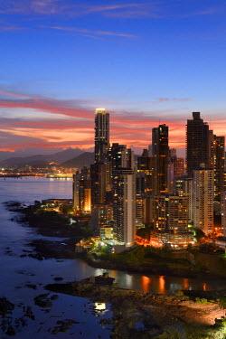 HMS1861582 Panama, Panama City, waterfront skyscrapers of Punta Paitillia district after sunset