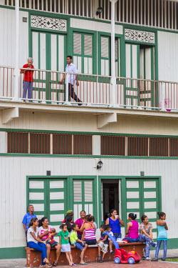 HMS1880993 Panama, Panama City, historic district listed as World Heritage by UNESCO, Casco Viejo district, Barrio San Felipe, wooden house called Casa Boyaca 1890