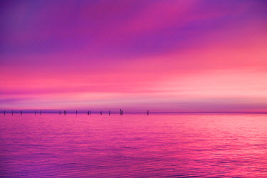 Sunset over the sea, Fehmarn island, Baltic coast, Schleswig-Holstein, Germany