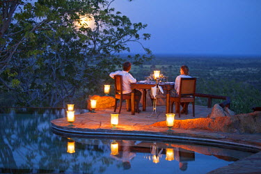 KEN9397 Kenya, Meru National Park, Elsa's Kopje. Romantic dinner for two under a full moon. MR.