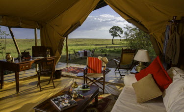 KEN9479 Kenya, Mara North Conservancy. The interior of a luxury safari tent in Elephant Pepper Camp.