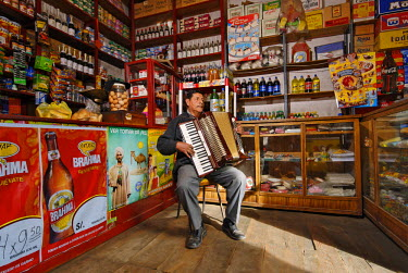 HMS0301804 Peru, Puno Province, Puno, one of the oldest grocery shop of the city, formely a chocolate factory