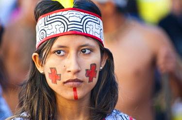 HMS0587144 Peru, Cuzco Province, Cuzco, dancer in traditional costume for the Corpus Christi Celebration