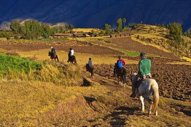 HMS0602073 Peru, Cuzco province, Huasao, horse trekking in the Andes