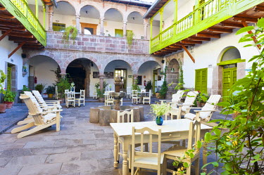 HMS0864829 Peru, Cuzco Province, Cuzco, colonial patio of one of three hotels of Ninos Hotel managed by Jolanda Van den Berg, the hotel profits are donated to the Charitable Foundation Ninos Unidos Peruanos whic...