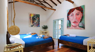 HMS0864845 Peru, Cuzco Province, Cuzco, room of one of three hotels of Ninos Hotel managed by Jolanda Van den Berg, the hotel profits are donated to the Charitable Foundation Ninos Unidos Peruanos which takes ca...