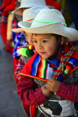 HMS1749717 Peru, Cuzco province, Cuzco, listed as World Heritage by UNESCO, Corpus Christi feast, for several days in June, parade through the streets, the Virgin and Saints of the city, procession of children i...