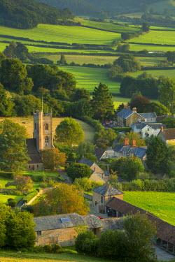 EU33BJN0419 Evening sunlight over Corton Denham, Somerset, England