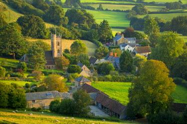 EU33BJN0420 Evening sunlight over Corton Denham, Somerset, England