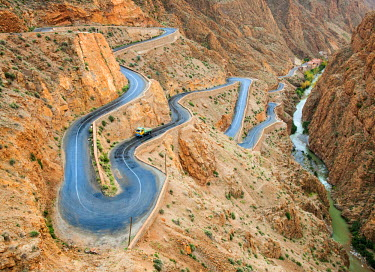 MOR2254AW Hairpin bends of the road in Dades Gorge, Dades Valley, Morocco