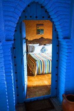 MOR2219AW Room in a traditional hotel, Chefchaouen, Morocco