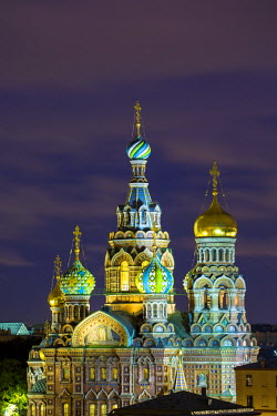 RU02324 Illuminated Domes of Church of the Saviour on Spilled Blood, Saint Petersburg, Russia