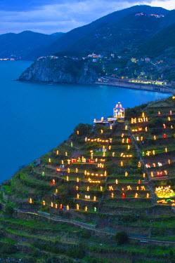 ITA4221AW The world biggest presepio on the hills of Manarola, Cinque Terre, ligurian coast, Italy