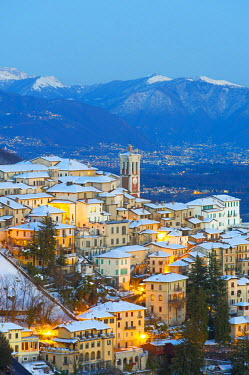 ITA4271AW The Unesco heritage holy mount (sacromonte) of Varese covered with snow at dusk, Varese, Italy