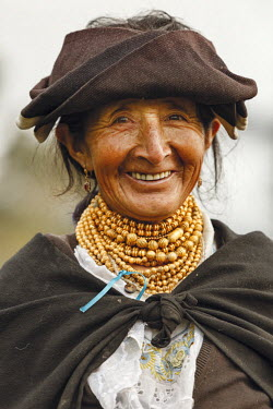 Ecuador, Imbabura, Chilcapamba, portrait of a traditionally dressed Ecuadorian peasant
