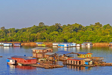 HMS2073046 Brazil, Amazonas state, Amazon river basin, Tapaua, Floating houses, part of the town at the junction pf the Purus river and the Ipixuna river