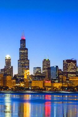 USA9857AW USA, Illinois, Chicago. The City Skyline and a frozen Lake Michigan.
