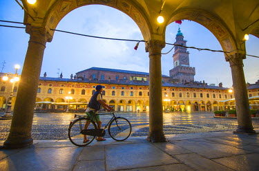 ITA4300AW Piazza Ducale, Vigevano, Lombardy,  Italy. Rainy sunset and people.