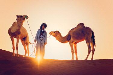 MOR2298AW Sahara desert, Morocco. Silhouette on the dunes at sunset.