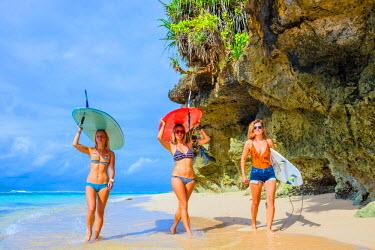 ARTRKO001418 Beautiful Surfer Girls Walking on the Beach.