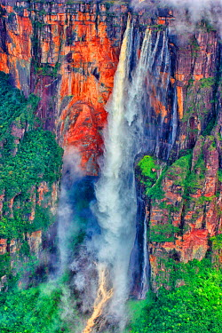 ARGADA0023841 Angel Falls is the highest waterfall in the world water, with a height of 979 m (807 m of uninterrupted fall), generated from the Auyantepuy. It is located in the Canaima National Park in Bolivar Stat...
