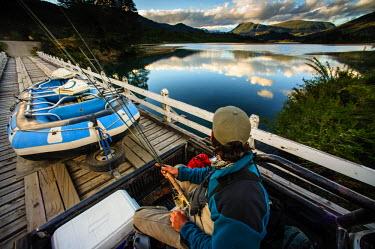 ARLAMA000049 Fly fishing Rio Manso, Patagonia, Argentina,